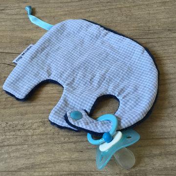 Tutdoekje - Olifant - Vichy baby blue (donker blauw)