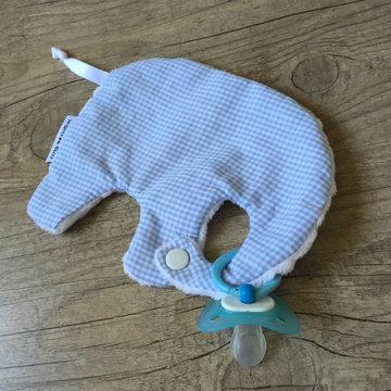 Tutdoekje - Olifant - Vichy baby blue (wit)