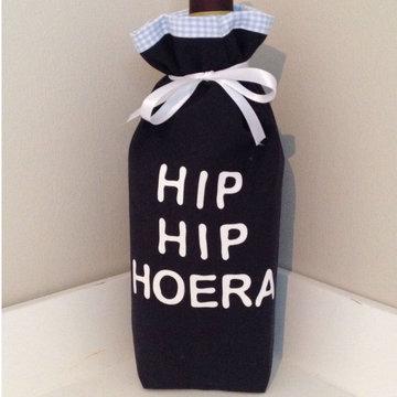 Wijnzak - Hip Hip Hoera - Vichy Baby Blue